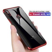 MEIZE Case Cover For Xiaomi Mi 8 Luxury Laser Plating Soft Clear Back 6 Mi8 SE Mi6 Phone Cases