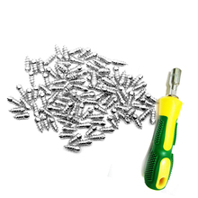 100pcs/lot Stud Screw 15mm Anti-Slip Wheel Tyre Snow Tire Spikes Trim with Install Sleeve Tool for Auto Car SUV ATV