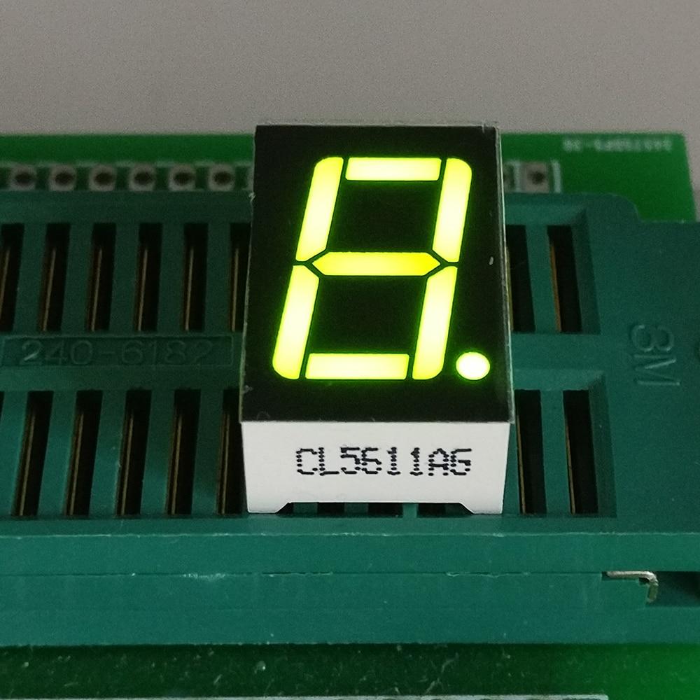 10PCS New  1 Bit 0.56 Inch Digital Tube LED Display  Yellow Green  Light 7 Segment Common Cathode/Anode