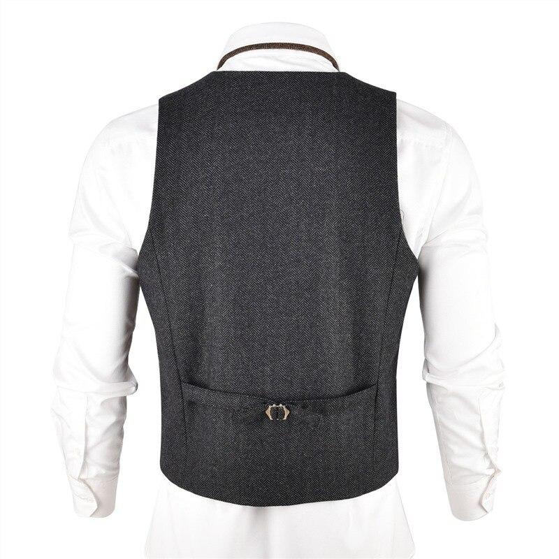 VOBOOM Grijs Zwart Tweed Heren Vest Pak Slim Fit Wol Blend Single Breasted Visgraat Vest Mannen Taille Jas voor Man 007-in Vesten van Mannenkleding op AliExpress - 11.11_Dubbel 11Vrijgezellendag 3