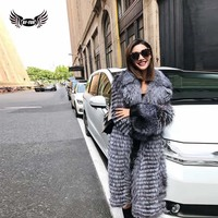 BFFUR Natural Fur Luxury 100cm Long Real Red Silver Fox Fur Coat Warm Tailored Collar For