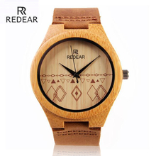 Fashion Brand Bamboo Watch Men Women Wood Quartz Watches Leather Strap Waterproof Wooden Casual Wristwatches Lover's Clock