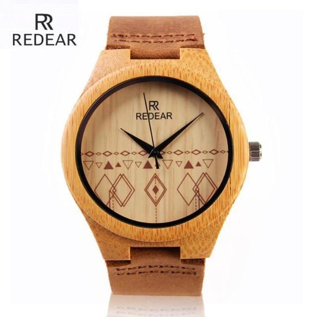 Fashion Brand Bamboo Watch Men Women Wood Quartz Watches Leather Strap Waterproo