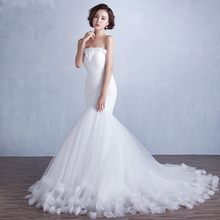 Tuyệt vời Luxury Mềm Tulle Mermaid Wedding Dresses với Hand Made Flowers Trắng Ngà 2016 Bridal Gowns(China)