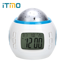 iTimo Starry Sky Star Moon Projector Light with Alarm Clock Rotary Flashing Table Lamp LED Night Light for Kid Children Bedroom