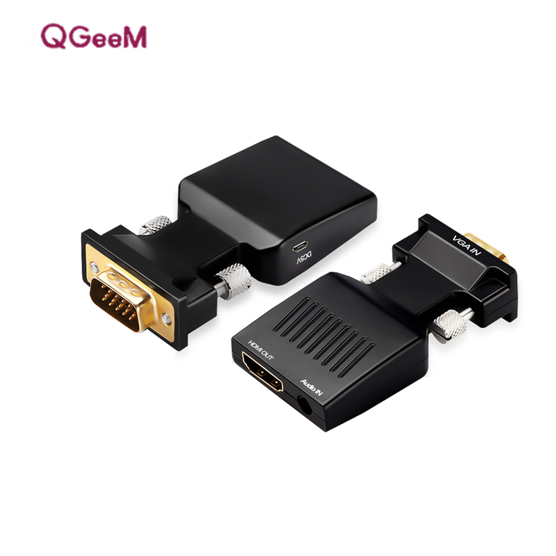 QGeeM VGA to HDMI Converter Adapter 1080P VGA HDMI Adapter For PC Laptop to HDTV Projector Video Audio Converter цена и фото