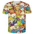 Harajuku 3D Impressão Dos Desenhos Animados Os Rugrats Filme Gráfico Camisetas Moda T Engraçados Coloridos Unissex Manga Curta O-pescoço Tops de Verão