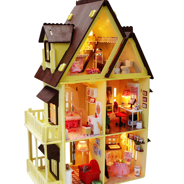 Diy Wooden Doll House Furniture Light Model Building Kits 3D Miniature Dollhouse Puzzle Dolls Toy Gifts My little House Ali'ce