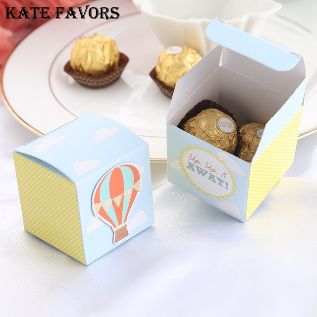 12pcs Up Up And Away Hot Air Balloon Favor Candy Box Gift Box