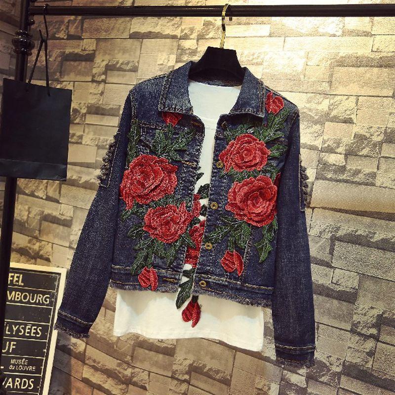 Manteau Outwear Veste Rose Streetwear Mode 2018 Floral Femmes Broderie Automne 1073 Jean Y De Denim q78wPT