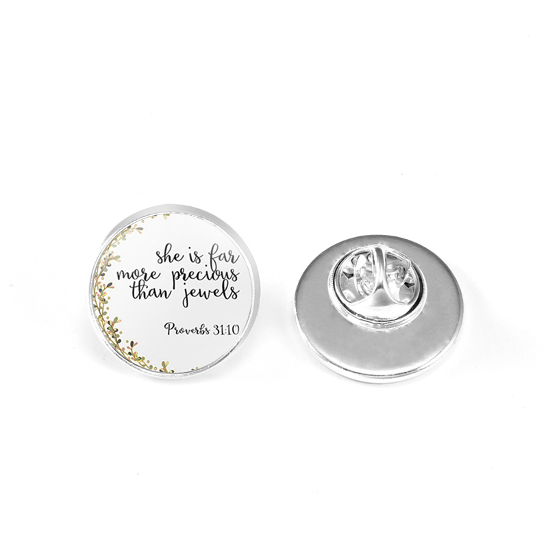 Suteyi Classic Bible Verse Psalm Pins Fashion Glass Dome