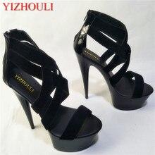 Модные сандалии-гладиаторы в стиле панк; пикантные туфли на высоком каблуке 15 см; 6 дюймов