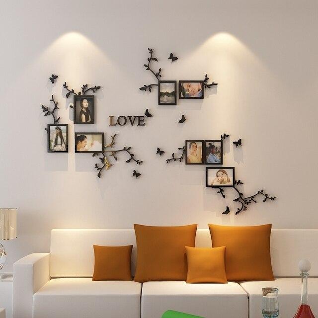 Hot koop Fotolijst Muur 3d acryl crystal muurstickers woonkamer ...