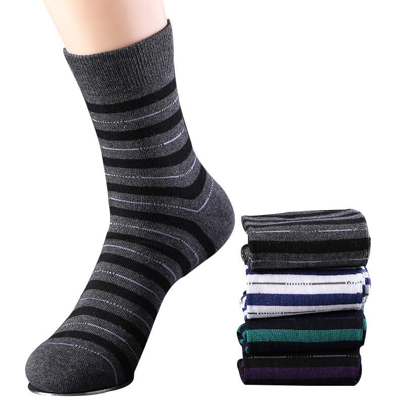 6Pair Men Sock 2018 New Business Style Men Sock Adult Comfortable Breathable Striped Combed Cotton Fashion high-Quality Men Sock