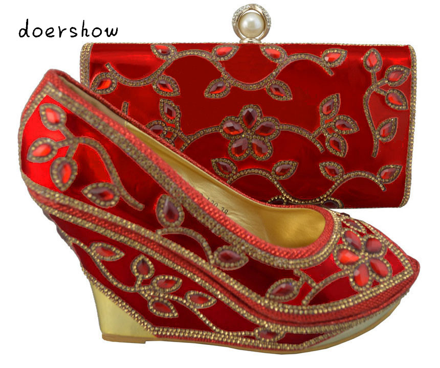 doershow 2015 New coming African sandals Italian shoes and bags to match red color shoes with