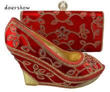Doershow 2015 Новое поступление, Африканские Сандалии итальянская обувь и сумки, чтобы соответствовать, красная обувь с комплект с сумкой ZX1-49