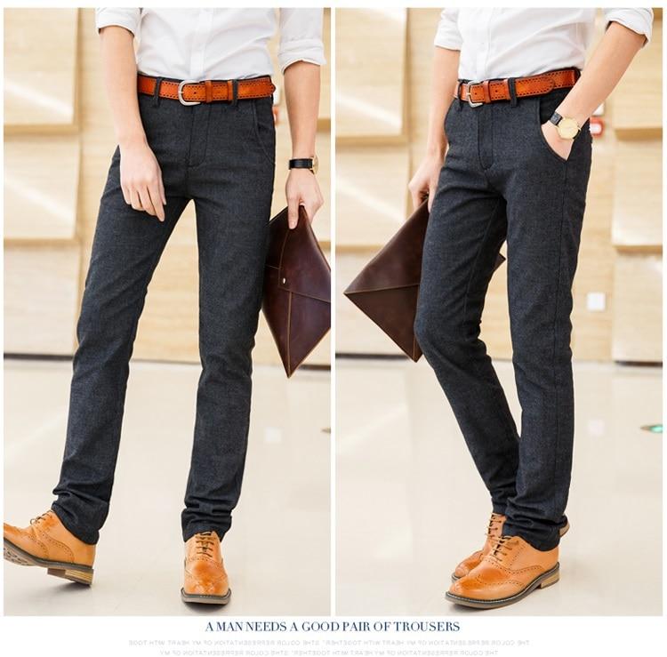 HTB1wjG6QgHqK1RjSZFPq6AwapXaE 2019 Autumn Winter New Men's Slim Casual Pants Fashion Business Stretch Thicken Trousers Male Brand Plaid Pant Black Blue