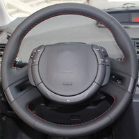 Black Leather hand stitched Car Steering Wheel Cover for Citroen C4 Picasso 2007 2013