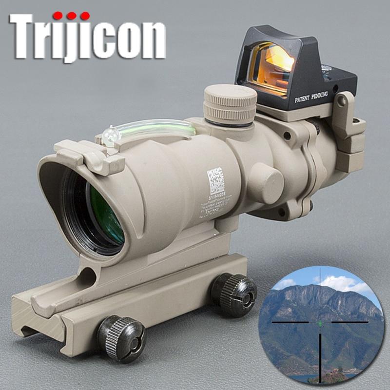 Tan Acog 4x32 Green Fiber Source Real Fiber Scope W/ Rmr Micro Red Dot Sight Marked Version Black Rifle Scope Hunting стоимость
