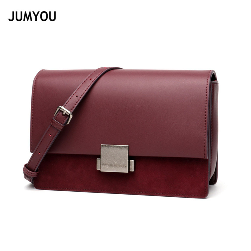 Genuine Leather Messenger Bags For Women Shoulder Bags For Female Flap Small Solid Red Wine Fashion Cross body Bags For Ladies chains belt ladies bags for women new design fashion women flap cross body bags korean style spring shoulder bag