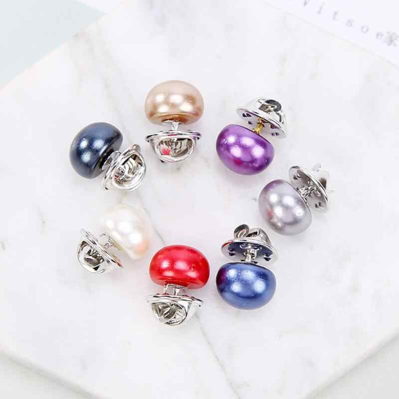 Classic Simple Pearl Collar Pin Buckle Brooch Collar Fashion Women Costume Brooches Pearl Beads Pin Jewelry Casual Decor Gift