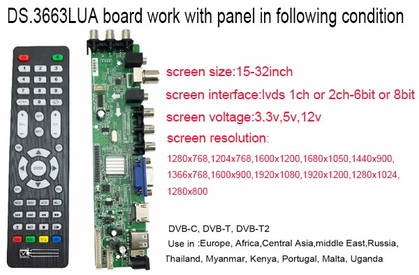 NEW Universal tv board dvb-t2 ds d3663lua support support DVB-T2/T/C  russian with lvds cable 40pin 1ch-6 bit 366346