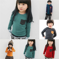 Hot Toddler Baby Long Sleeve Crewneck T-shirt Pocket Deco Boy Girl Shirt Top Clothes Free Shipping