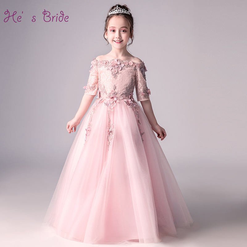 He's Bride Appliques Boat Neck Zipper Back Floor-Length Ball Gown Tulle Pink Flower Girl Dress for Party and Wedding Gowns