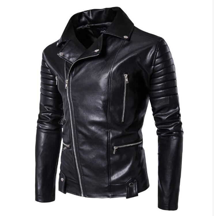M-5XL HOT New Men's fashion punk multi zipper motorcycle Leather jacket plus size slim PU leather clothing Male stage costumes