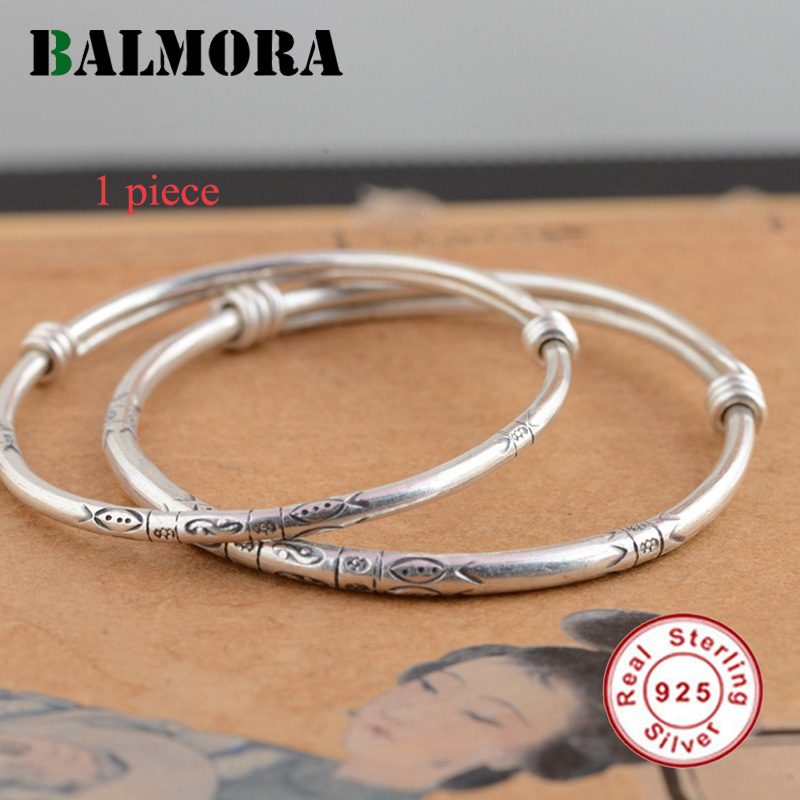 BALMORA 1 Piece Solid 925 Sterling Silver Classic Bangles for Women Gift Pattern Engraving Silver Jewelry