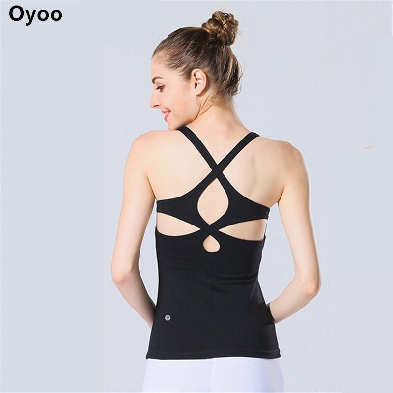 Oyoo Cerchio Ritaglio Yoga Canotte Con Built-In reggiseno delle Donne Camicie Atletica Sport Workout Correre Top Maglia Pilates Activewear