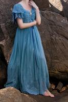 Оригинальный дизайн летнее женское Новое поступление Винтажное с v образным вырезом синее газовое кружевное длинное платье с вышивкой
