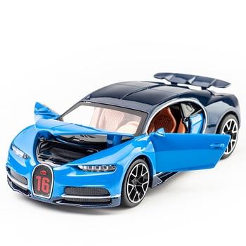 KIDAMI 132 samochodzik-zabawka ze stopu metali Bugatti Chiron dźwięk światło Diecasts & pojazdy zabawkowe kolekcja prezent samochód z napędem Pull Back zabawki modele dla dzieci