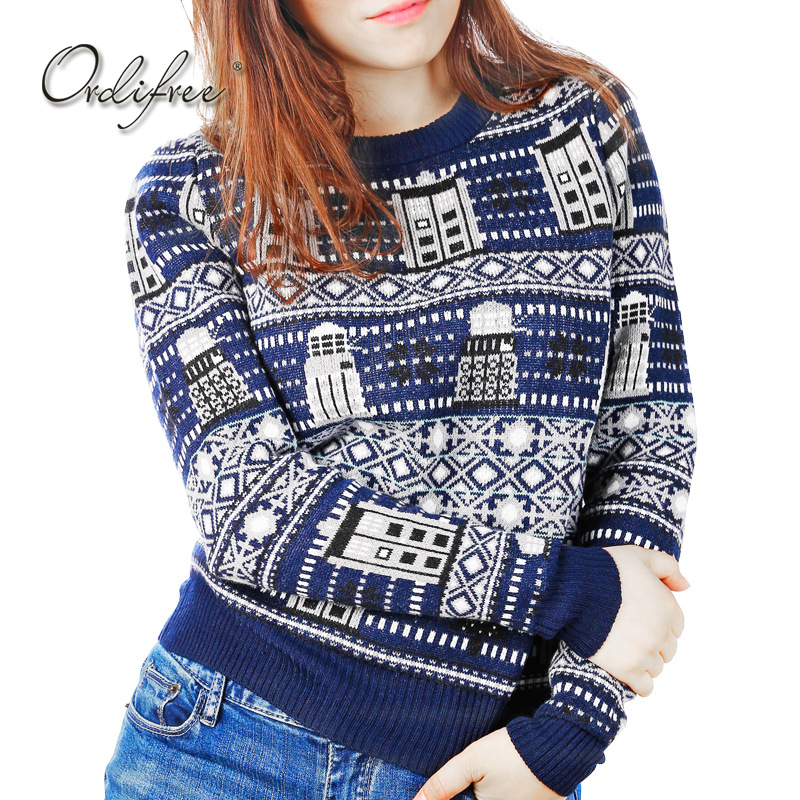 Ordifree 2017 Autumn Winter Ugly Christmas Sweater Ladies Knitwear Pull Femme Blue Print Women Knitted Pullover