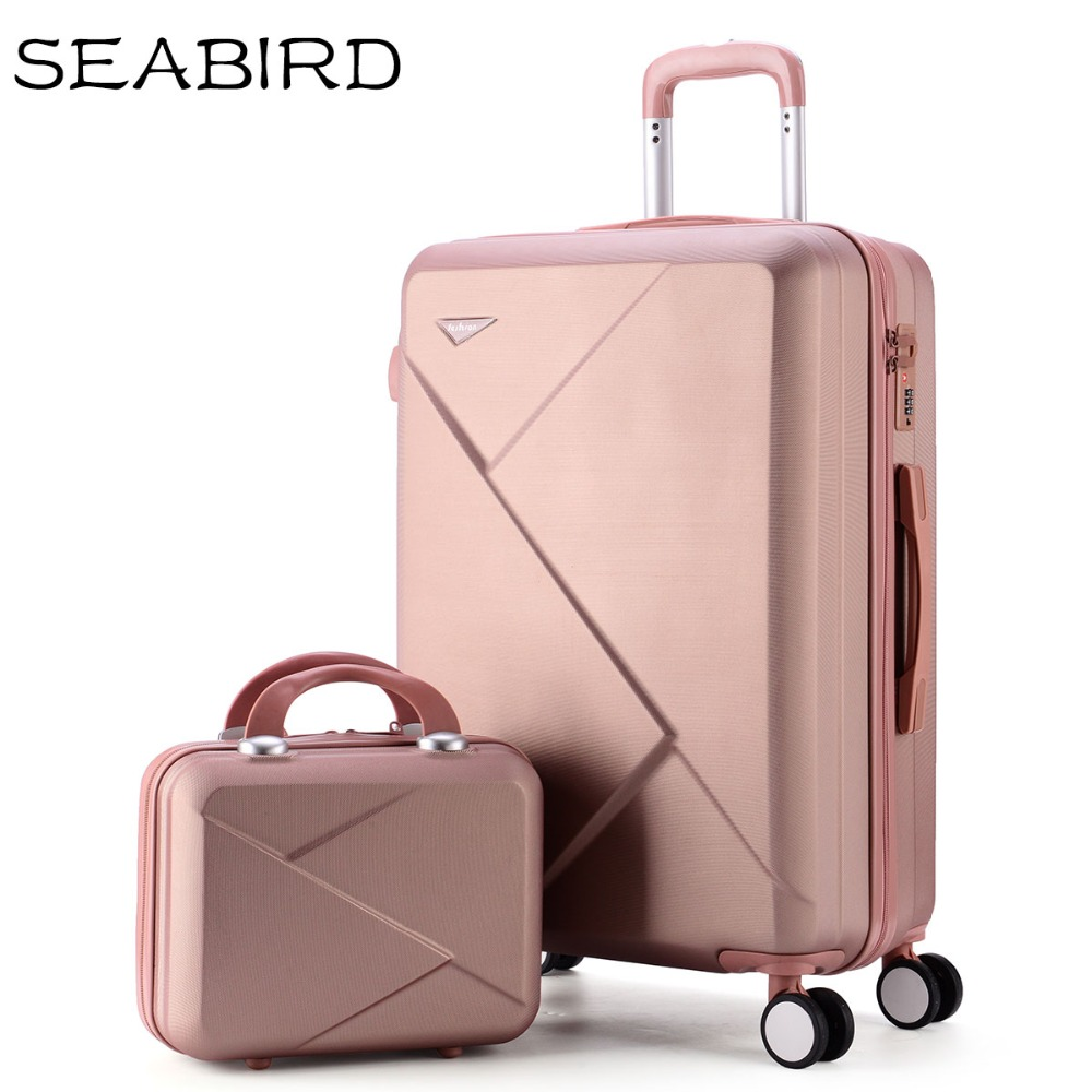 SEABIRD 2PCS/SET 14inch Cosmetic bag 20/22/24/26 inch girl trolley case ABS+PC students Travel luggage rolling suitcase