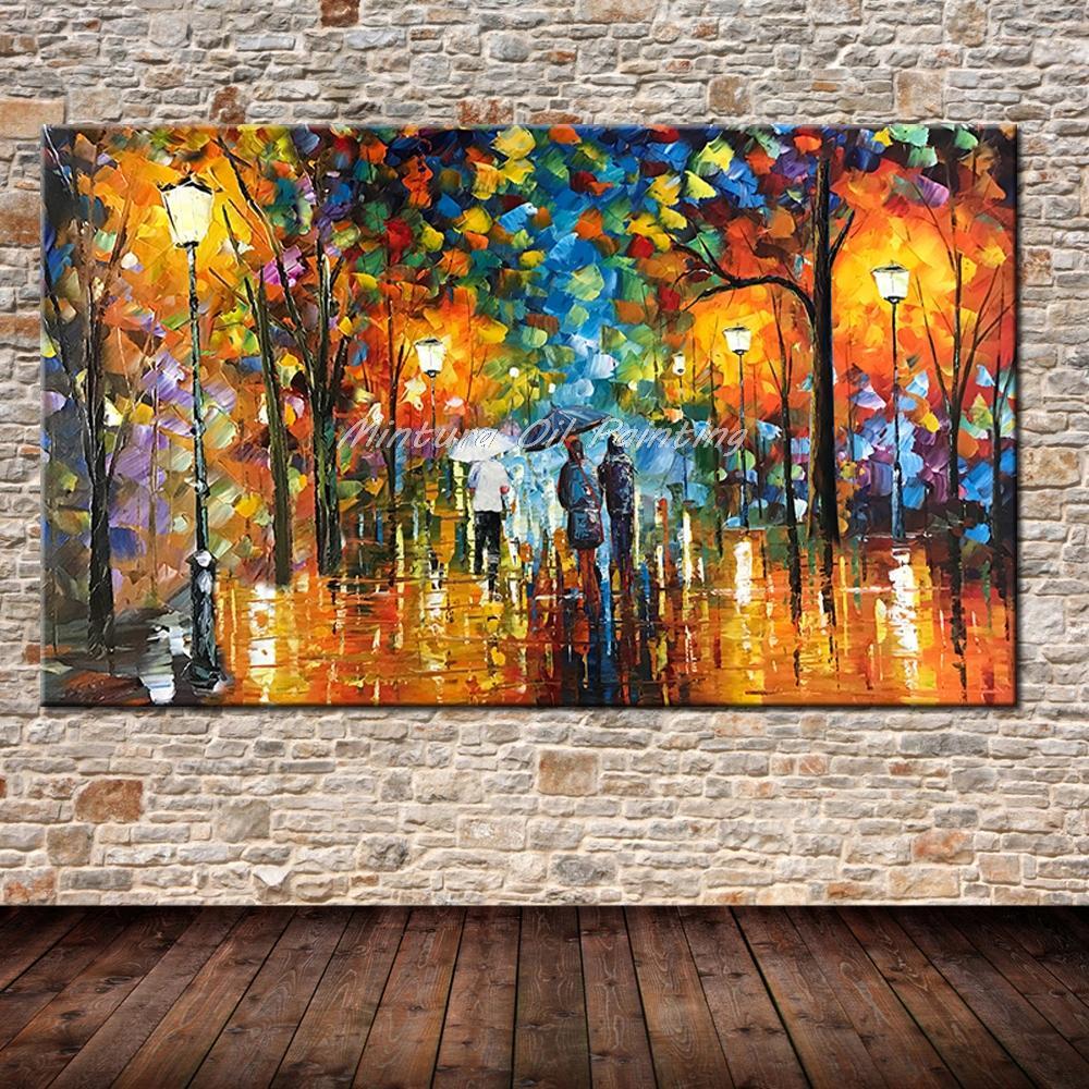 Большой расписанный вручную любовник дождь уличное дерево лампа пейзаж картина маслом на холсте настенные художественные настенные картины для гостиной домашний декор - Цвет: HY142203