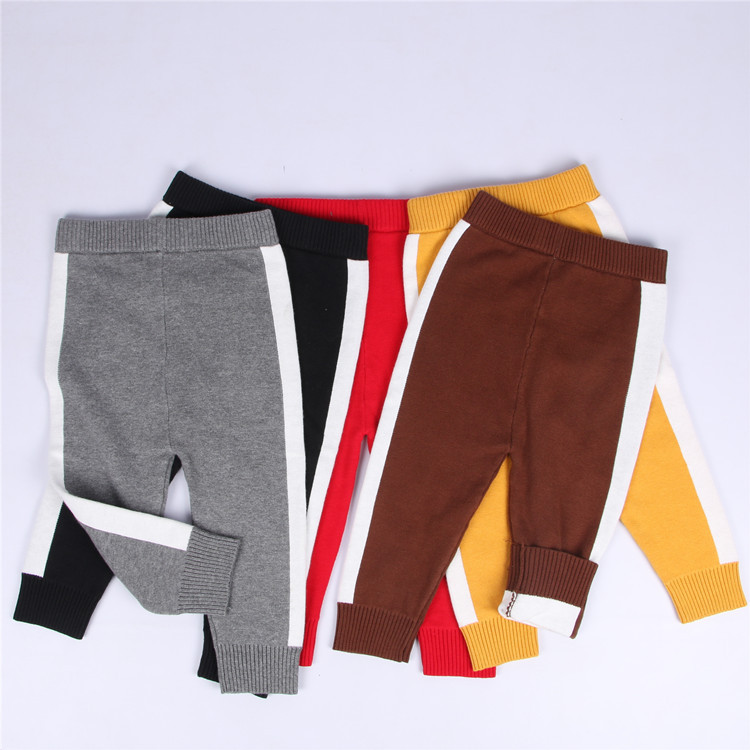 Fashion INS Autumn cotton childrens Knit pants striped pattern capris baby boy girl legg ...