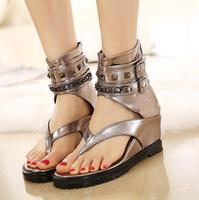 2018 summer sandals female rivets high slope with women's shoes clip toe summer black Roman flat feet shoes