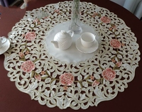 Peach roses High end luxury embroidery cloth art European style The round table cloth 85*85cm The table cloth Dust cloth