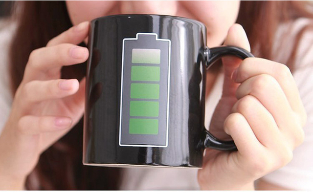 Creative Battery Magic Mug Positive Energy Color Changing Cup Ceramic Discoloration Coffee Tea Milk Mugs Novelty Gifts 1