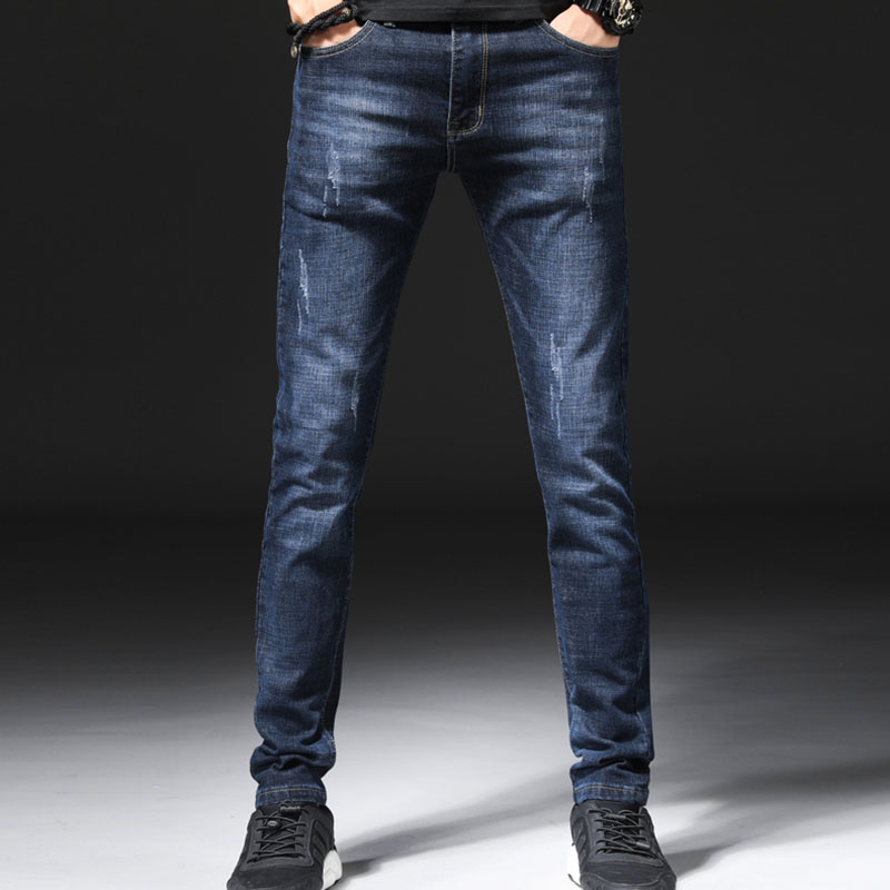 2018 New Mens Jeans Fashion Light Business Casual Slim Mens Jeans High Jeans Stretch Skinny Jeans Men