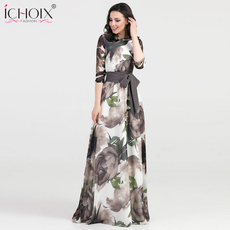 2019 Autumn Long Dress Women Bohemian Floral Print Floor Length Dress Style Female Blue Elegant Evening Party Maxi Dress Vestido