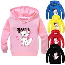 Свитшоты для девочек с изображением кота Марии; детская толстовка с капюшоном; Детский свитер для девочек с изображением аристократов и котов; Верхняя одежда; куртка