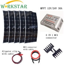 5pcs Mono 100W Solar Panels Kit with MPPT 30A Controller and Quick Connection Cables Emergency Houseuse 500W Solar Power System