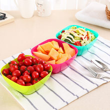 Square Plastic Fruit and Vegetable Salad Bowl Kitchen Fruit Bowl Snacks Dried Fruit Plate Simple Korean Mixing Bowl(China)