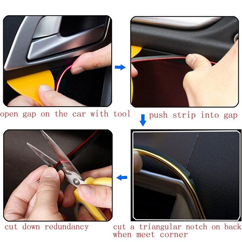5M Car interior Decorative Sticker Interior Mouldings Trim Strip Insert Type Plating Decoration Strip DIY Stickers Car-Stylying (6)