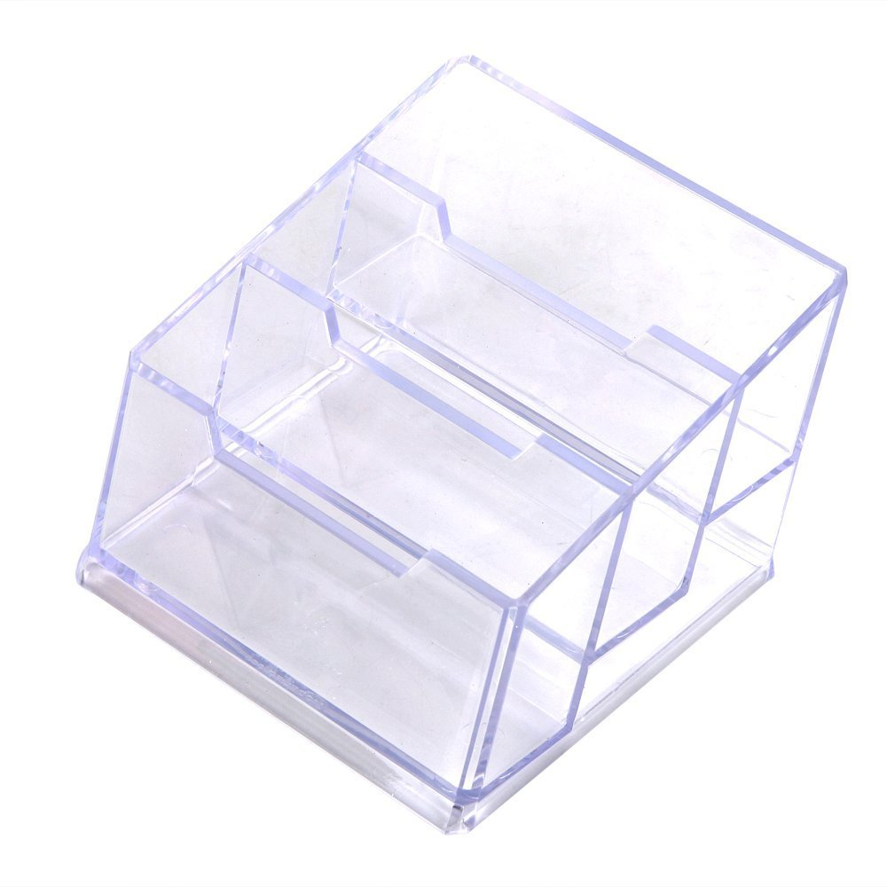 sosw3 layers pocket display stand acrylic plastic new clear desktop business card holder desk - Business Card Holder Desk