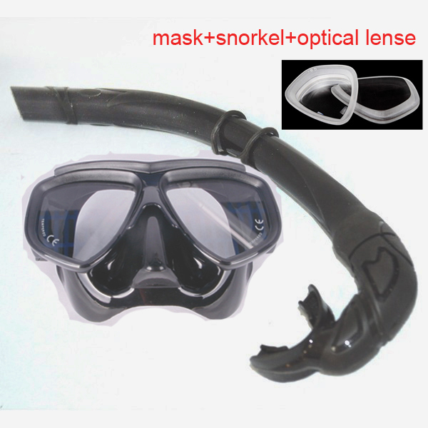 Ultra low volume black diving mask adult scuba mask Optical tempered glass lens freedive mask and flexable silicone snorkel set