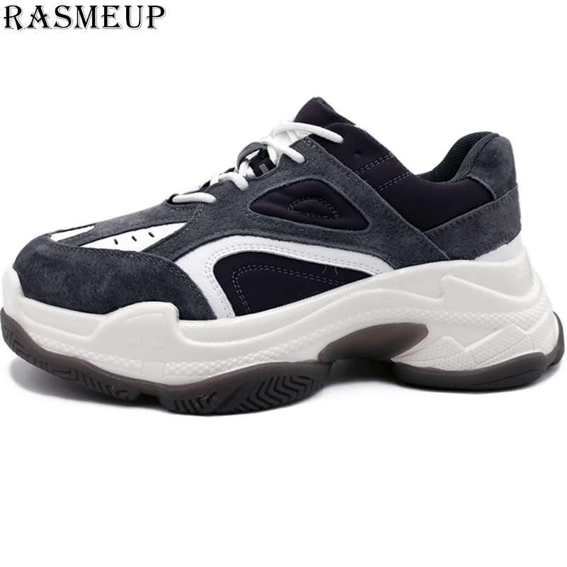 RASMEUP Genuine Leather Chunky Sneaker Women 2019 Spring Fashion High Platform Womens Shoes Vintage Thick Sole Dad FootwearRASMEUP Genuine Leather Chunky Sneaker Women 2019 Spring Fashion High Platform Womens Shoes Vintage Thick Sole Dad Footwear