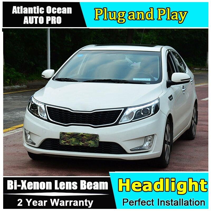 new led head lamp Car Styling for Kia K2 LED Headlight Korea Style Rio Headlights Lens Double Beam HID KIT Xenon bi xenon lens